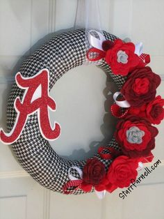 "University of Alabama Wreath Fall Houndstooth Rose Style Roll Tide Ribbon Felt Flower Wreath 12"". $45.00, via Etsy."
