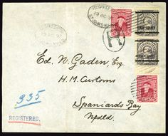 Newfoundland, Scott 75-76, 1897 (29 Oct) registered cover from St. John's to Spaniard's Bay, franked with two different types of 1c on 3c gray, with additional 2x2c franking paying the 6c registration rate for inland postage, filing folds away from the stamps, fine-v.f. and attractive cover