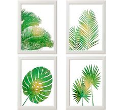 Tropical Palm Print Set, Green Wall Art, Tropical Wall Art, Palm Wall Art, Tropical Home Decor, Set of Four