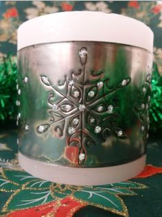 Snowflake Candle Wrap - hand crafted by Caroline @ Pewter Concepts