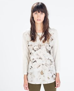 ZARA - 여성 - 리넨 프린트 티셔츠