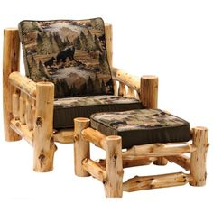 We carry this cedar log lounge chair and ottoman and other fine log furniture from Fireside Lodge. Browse our rustic furniture catalogs now. Rustic Log Furniture, Diy Garden Furniture, Rustic Chair, Furniture Plans, Furniture Decor, Rustic Decor, Cedar Furniture, Rustic Backdrop, Western Furniture