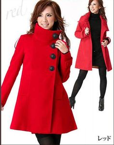 Details about Hot Sale Fashion Lady Womens Long Pea Coats Classic ...