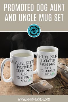 Mug Sets | New Aunt and New Uncle Mug Set – Pregnancy Announcement Gift for Dog Lover Sister and Brother – Gift for Men and Women. Design printed using a sublimation process making the design part of the mug surface. Prints are high quality and won't scratch, peel or fade away over time. Design printed on both front and back sides of the mug. 100% Dishwasher and Microwave safe. Click to collect this awesome mug set. #MugSet #PregnancyAnnouncementGift #PregnancyAnnouncementMug #Mugs…
