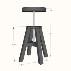 Adjustable Height Wood and Metal Stool - DIY Projects Metal Building Kits, Metal Building Homes, Metal Homes, Building Ideas, Furniture Projects, Furniture Plans, Diy Furniture, Plywood Furniture, Luxury Furniture