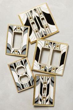 Retro Swirl Switch Plate - anthropologie.com Casa Art Deco, Art Deco Decor, Decor Room, Room Art, Motif Art Deco, Art Deco Design, Retro Home Decor, Diy Home Decor, Design Hall