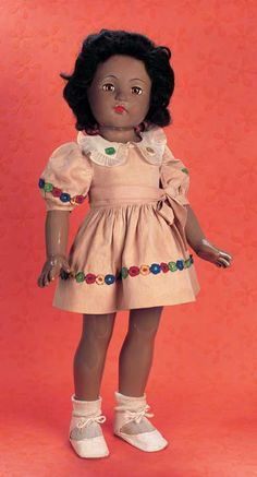 """Playful Art - The 20th Century Doll: 125 Rare American Composition """"Little Lady"""" by Effanbee with Brown Complexion"""