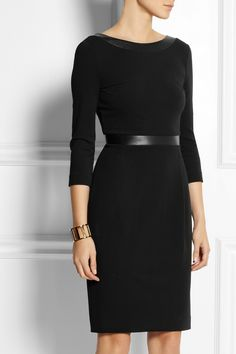 Gucci | Leather-trimmed stretch-crepe dress | NET-A-PORTER.COM