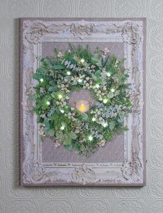 Framed wreath lighted picture by Radiance Lighted Canvas x46977