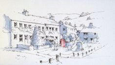 The village of Burnsall in the Yorkshire Dales ~ sketch