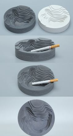 Handmade Round Concrete Cigar Cigarette Ashtray