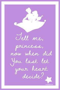 Aladdin and Jasmine Disney Dream, Disney Love, Disney Magic, Disney Pixar, Walt Disney, Disney Princess Quotes, Disney Quotes, Princess Jasmine Quotes, Disney Memes