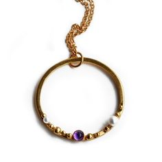 cf4a794b8 ORB granulated hoop necklace gold with amethyst and pearls - product images  of
