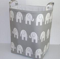 READY TO SHIP... Gray and White Ele Elephant Organizer Bin Laundry Basket Toy Hamper. $60.00, via Etsy.