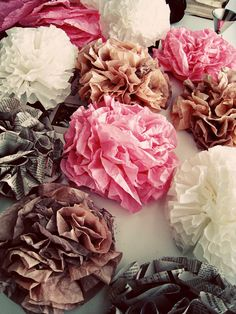 Tutorial on coffee filter flowers. Dye them any gorgeous color! (or neutrals)
