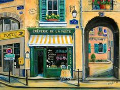 French Creperie Painting by Marilyn Dunlap