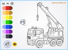 Hoisting crane - coloring pages online for kids - Coloring-4kids.com