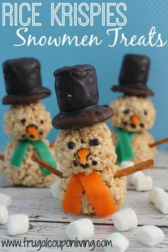 Marshmallow Rice Krispie Treat Snowmen Recipe - Kids Food Craft