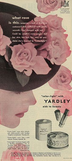 "Yardley ""Color-Light"" cosmetics ad, 1946. Vintage Makeup Ads, Vintage Ads, Vintage Pink, Vintage Posters, Retro Ads, Vintage Advertisements, Vintage Glamour, Vintage Beauty, Beauty Ad"