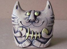 Creative piece of artistic sculpture. Pottery Animals, Ceramic Animals, Clay Animals, Ceramic Clay, Ceramic Pottery, Pottery Art, Sculptures Céramiques, Sculpture Clay, Clay Cats