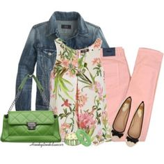 Floral Top and Peach Jeans