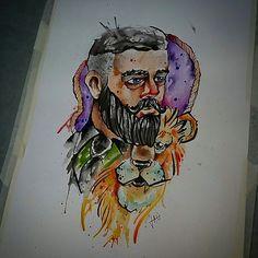 Man and lion watercolour aquarela leão bear tattoo tatuagem cores draw drawing