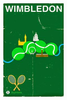 網球場的路上。to the tennis court: 網球四大滿貫與插畫 - Grand Slam posters by Paul Thurlby