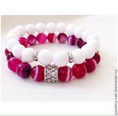 """Браслеты из натуральных камней """"Couple with pink"""" (агат) - розовый, малиновый, розовый браслет"""