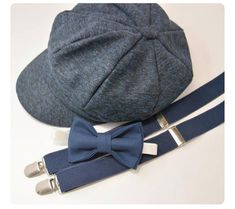 Bow Tie Suspenders Navy Newsboy Cap Hat / Navy Blue Bow Tie / Navy Blue Suspenders / Kids Baby Page Boy Outfit Set / Newborn - 10 Years Navy Blue Suspenders, Navy Blue Bow Tie, Bowtie And Suspenders, Newsboy Cap, Wedding With Kids, Navy Color, Baby Month By Month, Kids Wear, Caps Hats