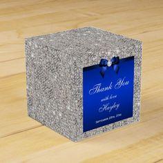 Glamorous Silver Sequins Blue Bow Diamond Favor Box