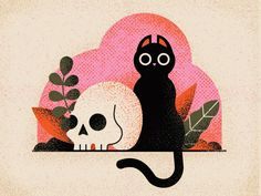 cat illustration Things are starting to get a a little creepy. by MUTI on Dribbble Spooky Halloween, Creepy Halloween Decorations, Halloween Party Decor, Cute Halloween Drawings, Kawaii Halloween, Halloween Pictures, Halloween Illustration, Illustration Design Graphique, Illustration Inspiration