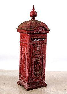 Belgian Antique Cast Iron Red Mailbox - My creative garden decor list Antique Mailbox, Vintage Mailbox, Red Mailbox, Mailbox Post, Cast Iron, It Cast, Post Box, Poster, Vintage Antiques