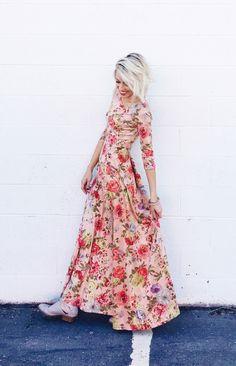antique blush floral maxi dress   ROOLEE