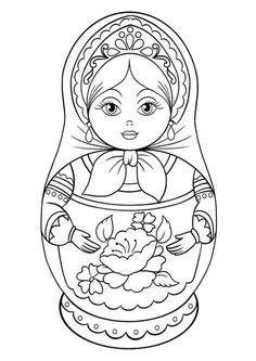 russian coloring pages for kids saint basils cathedral coloring page art projects for kids russian coloring kids for pages. Free Printable Coloring Pages, Coloring Book Pages, Coloring Pages For Kids, Matryoshka Doll, Kokeshi Dolls, Doll Drawing, Embroidery Designs, Drawings, Prints