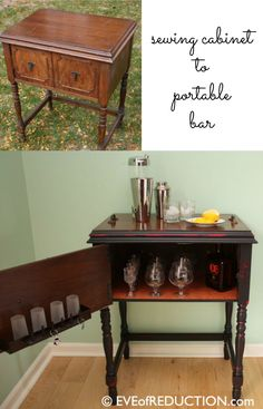 Sewing Machine How to make a sewing cabinet bar. Old sewing machine cabinets make great new useful pieces including bar carts. - How to make a sewing cabinet bar. Old sewing machine cabinets make great new useful pieces including bar carts. Old Sewing Tables, Sewing Machine Tables, Antique Sewing Machines, Upcycled Furniture Before And After, Repurposed Furniture, Repurposed Items, Furniture Makeover, Diy Furniture, Painted Furniture