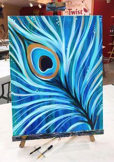 Paint ya tailfeather!  #PeacockPlume #Artwork #Acrylic #Blue #Feathers
