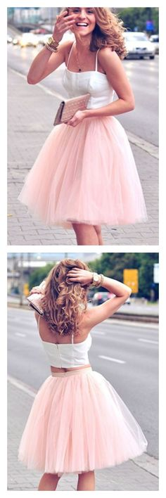 2017 cute pink homecoming dresses, two pieces short prom dresses #homecomingdresses #SIMIBridal