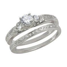 $499.95 for 0.50ct Round G-H Diamond Three Stone Bridal Set Ring Wedding Band 14k White Gold