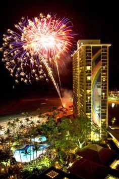 Hilton Hawaiian Village on Waikiki Beach, Oahu. Our hotel was right next door! Loved the fireworks!
