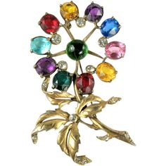 Colorful Cabochon Huge Flower Brooch offered by Anna's Vintage Jewelry a Ruby Lane Shop