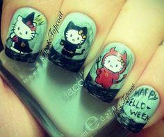 uñas de hello kitty muñecas para halloween                              …