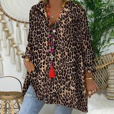 Product number brand name Wikisunny gender Woman Color Multicolor season autumn,spring Material Polyester Pattern type Leopard Sleeve Length Long sleeve style Basic section Wearing occasion Vacation Size S M L XL Length (inch) Bust (inch) Shoulder width Leopard Print Outfits, Leopard Shirt, Leopard Cardigan, Cheetah, Stitching Dresses, Animal Print Fashion, Comfortable Fashion, Types Of Sleeves, Casual Shirts