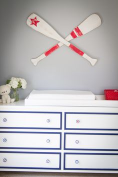 Love this nautical-inspired dresser/changing table + fun decor!