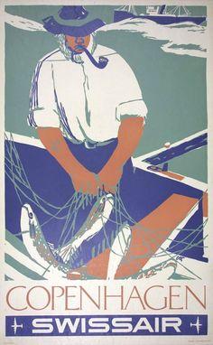 Ott Henri – Swissair, Copenhagen, travel poster, 1951
