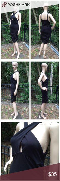 """Guess Los Angeles Size Large Black Dress Armpit to armpit - 17"""", Shoulder to bottom hem - 35""""; Cotton, Spandex; Hand wash; Excellent condition Guess Dresses Midi"""