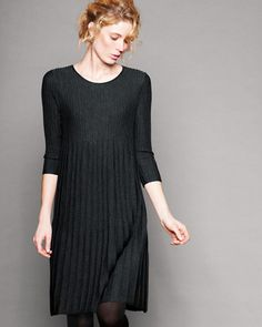 A modern update to an easy knit, this above-knee-length dress in Italian wool swings with accordion pleat detailing. Made by Eileen Fisher exclusively for Garnet Hill.