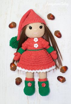 Christmas Doll crochet pattern by Amigurumi Today
