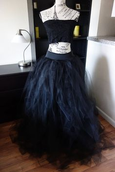 2 pcs set Maternity tulle skirt and simple tube top-Black Tulle Skirt - Adult full Length Tutu, with jersey stertch waist,  - Made to Order
