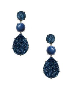 Anzie Lelia Blue Drusy & Lapis Triple Drop Earrings