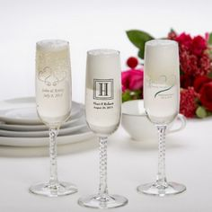 Personalized Champagne Flute Wedding Favors - Wedding Champagne Flutes & Cake Server Sets - Wedding Reception - $7.99